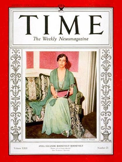 1933-11 Eleanor Roosevelt Copyright Time Magazine | Time Magazine Covers 1923-1970