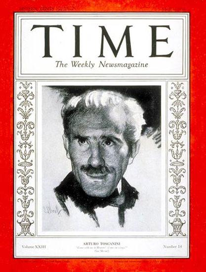 1934-04 Arturo Toscanini Copyright Time Magazine | Time Magazine Covers 1923-1970