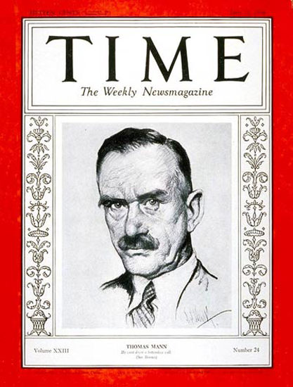 1934-06 Thomas Mann Copyright Time Magazine | Time Magazine Covers 1923-1970