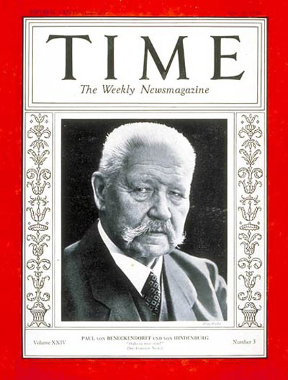 1934-07 Paul Von Hindenburg Copyright Time Magazine | Time Magazine Covers 1923-1970