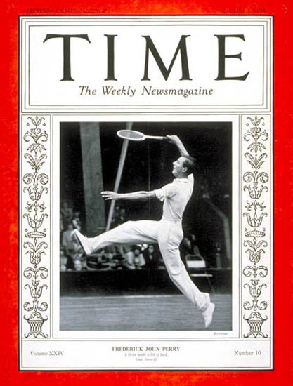 1934-09 Frederick J Perry Tennis Copyright Time Magazine | Time Magazine Covers 1923-1970