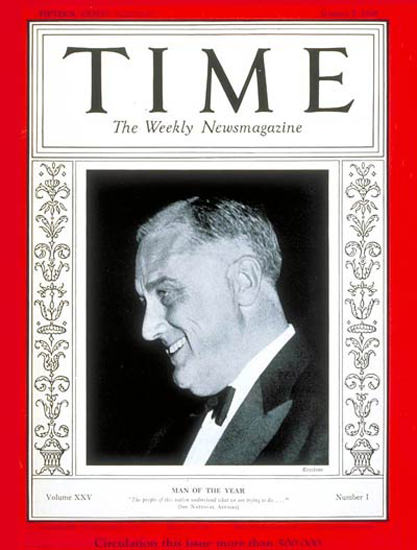 1935-01 Franklin D Roosevelt Copyright Time Magazine | Time Magazine Covers 1923-1970