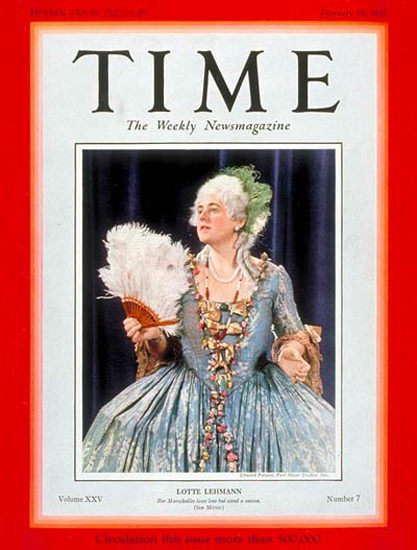 1935-02 Lotte Lehman Copyright Time Magazine | Time Magazine Covers 1923-1970