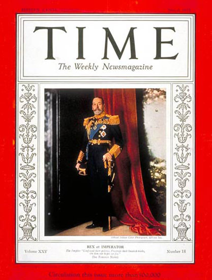 1935-05 King George V Copyright Time Magazine | Time Magazine Covers 1923-1970