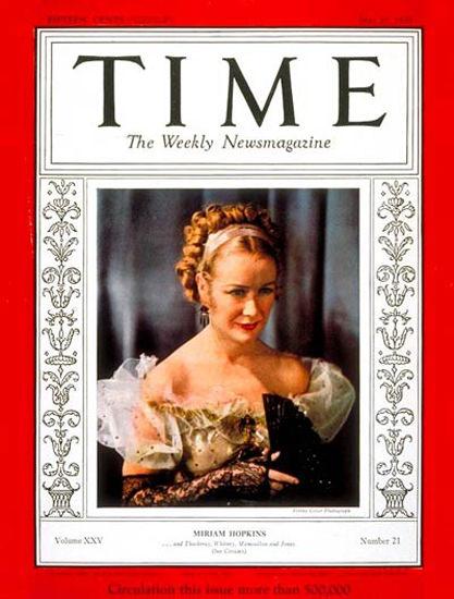 1935-05 Miriam Hopkins Copyright Time Magazine | Time Magazine Covers 1923-1970