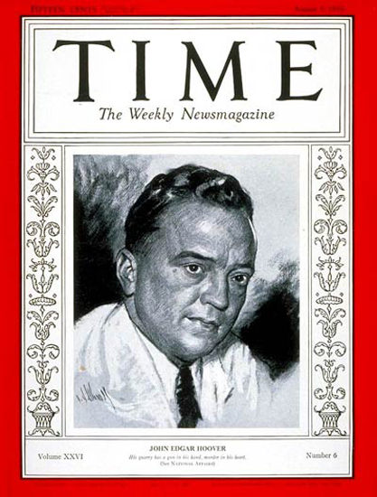 1935-08 J Edgar Hoover Copyright Time Magazine | Time Magazine Covers 1923-1970