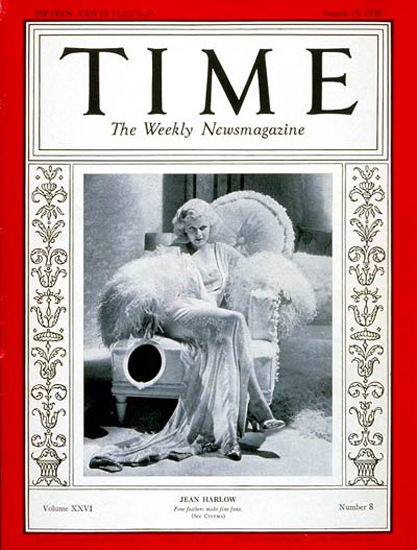 1935-08 Jean Harlow Copyright Time Magazine | Time Magazine Covers 1923-1970