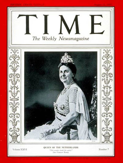 1935-08 Queen Wilhelmina Copyright Time Magazine | Time Magazine Covers 1923-1970