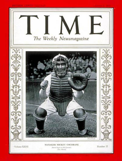1935-10 Mickey Cochrane Baseball Copyright Time Magazine | Time Magazine Covers 1923-1970