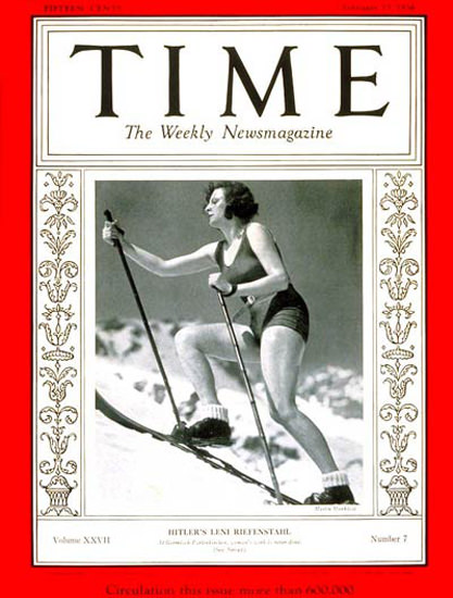 1936-02 Leni Riefenstahl Copyright Time Magazine | Time Magazine Covers 1923-1970