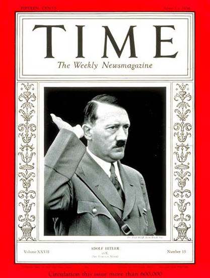 1936-04 Adolf Hitler Copyright Time Magazine | Time Magazine Covers 1923-1970