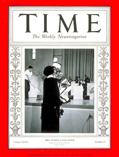 1936-04 Shirley Temple Copyright Time Magazine | Time Magazine Covers 1923-1970
