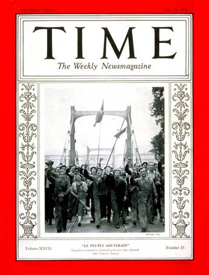 1936-06 French Strikers Copyright Time Magazine | Time Magazine Covers 1923-1970
