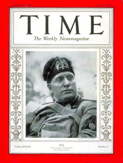 1936-07 Benito Mussolini Copyright Time Magazine | Time Magazine Covers 1923-1970