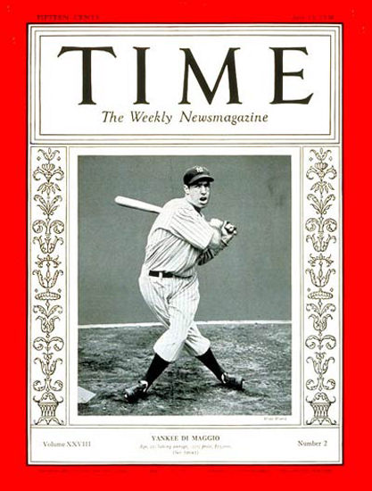 1936-07 Joe DiMaggio Baseball Copyright Time Magazine | Time Magazine Covers 1923-1970