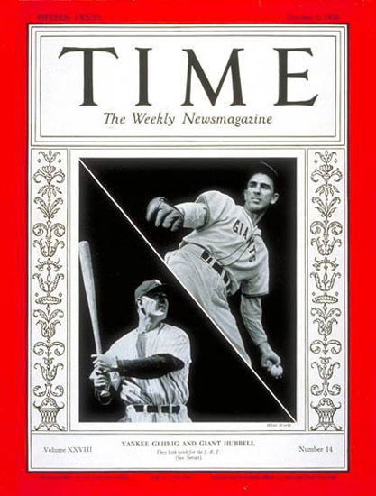 1936-10 Lou Gehrig Carl Hubbell Copyright Time Magazine | Time Magazine Covers 1923-1970