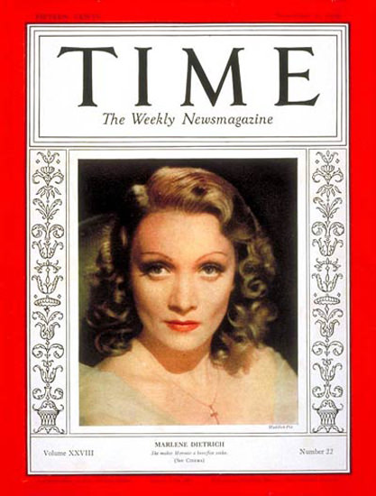 1936-11 Marlene Dietrich Copyright Time Magazine | Time Magazine Covers 1923-1970