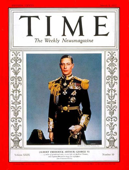 1937-03 King George VI Copyright Time Magazine | Time Magazine Covers 1923-1970