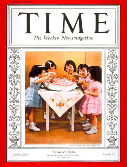 1937-05 Dionne Quintuplets Copyright Time Magazine | Time Magazine Covers 1923-1970