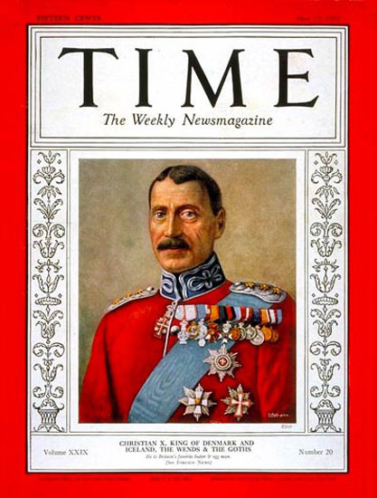 1937-05 King Christian X Copyright Time Magazine | Time Magazine Covers 1923-1970
