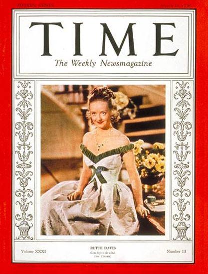 1938-03 Bette Davis Copyright Time Magazine | Time Magazine Covers 1923-1970