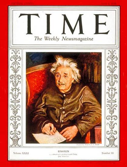 1938-04 Albert Einstein Copyright Time Magazine | Time Magazine Covers 1923-1970