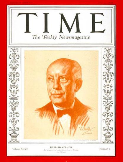 1938-07 Richard Strauss Copyright Time Magazine | Time Magazine Covers 1923-1970