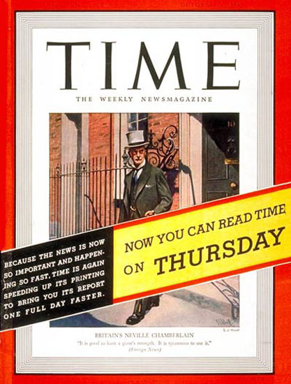 1938-10 Neville Chamberlain Copyright Time Magazine | Time Magazine Covers 1923-1970