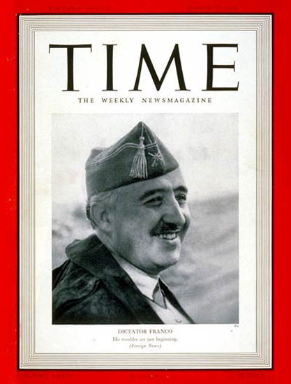 1939-03 Francisco Franco Copyright Time Magazine | Time Magazine Covers 1923-1970