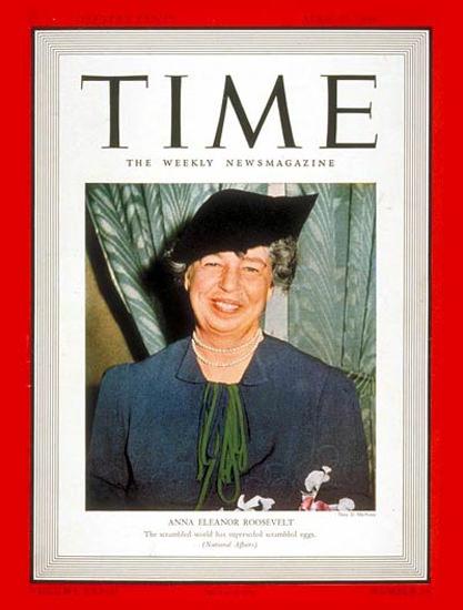 1939-04 Eleanor Roosevelt Copyright Time Magazine | Time Magazine Covers 1923-1970