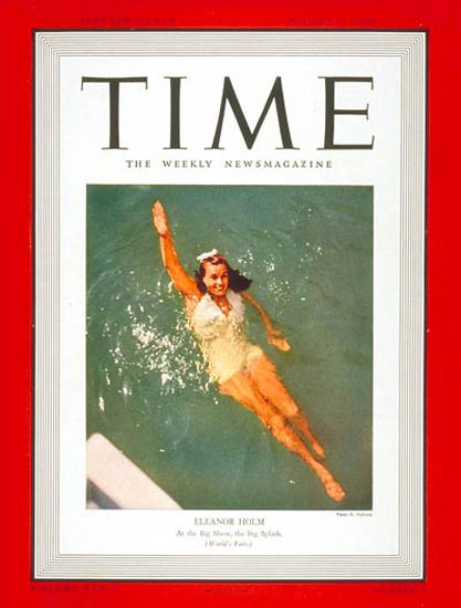 1939-08 Eleanor Holm Copyright Time Magazine | Time Magazine Covers 1923-1970