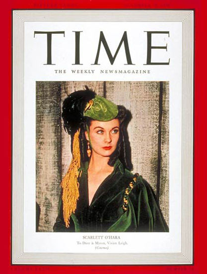 1939-12 Vivien Leigh Copyright Time Magazine | Time Magazine Covers 1923-1970