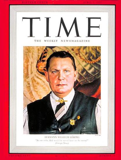 1940-04 Hermann Goering Copyright Time Magazine | Time Magazine Covers 1923-1970