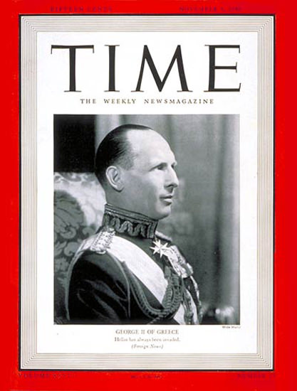 1940-11 King George II Copyright Time Magazine | Time Magazine Covers 1923-1970