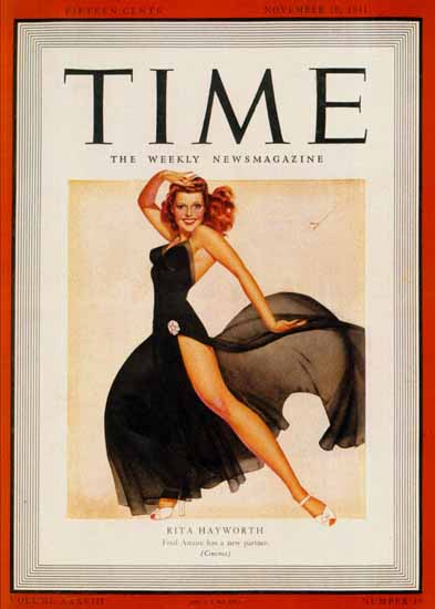1941-11 Rita Hayworth by George Petty Copyright Time Magazine | Time Magazine Covers 1923-1970