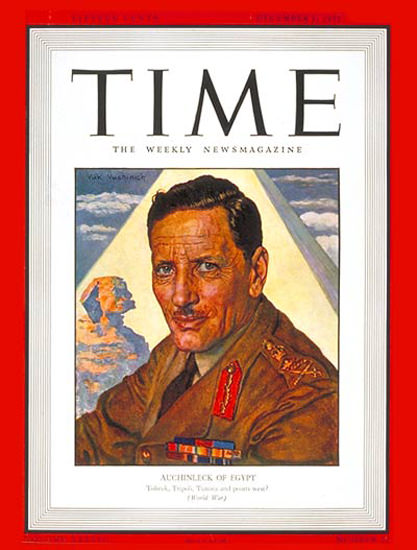 1941-12 Sir Claude Auchinleck Copyright Time Magazine | Time Magazine Covers 1923-1970