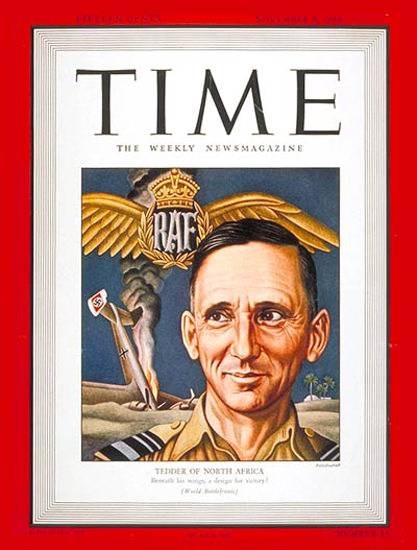 1942-11 Sir Arthur Tedder Copyright Time Magazine | Time Magazine Covers 1923-1970