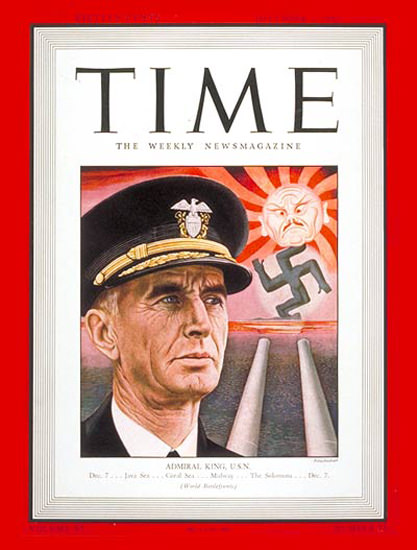 1942-12 Admiral Ernest J King Copyright Time Magazine | Time Magazine Covers 1923-1970