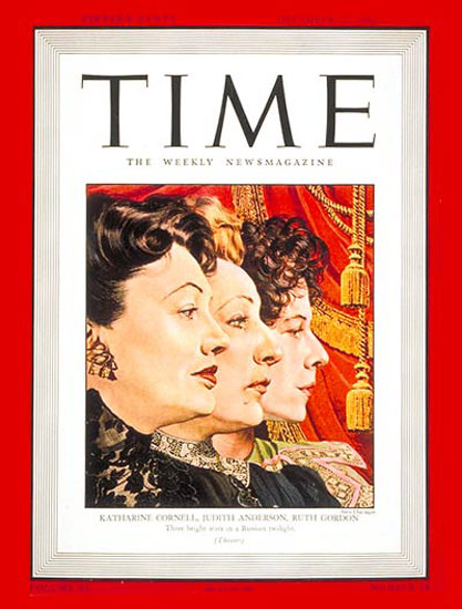 1942-12 Katharine Cornell J Anderson R Gordon Copyright Time Magazine | Time Magazine Covers 1923-1970