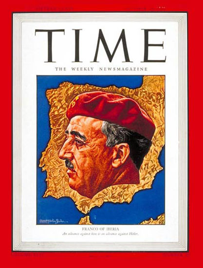 1943-10 Generalissimo Franco Copyright Time Magazine | Time Magazine Covers 1923-1970