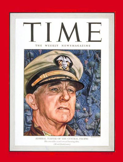 1944-02 Rear Admiral Turner Copyright Time Magazine | Time Magazine Covers 1923-1970