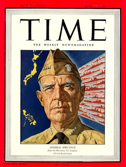 1944-06 Admiral Spruance Copyright Time Magazine | Time Magazine Covers 1923-1970