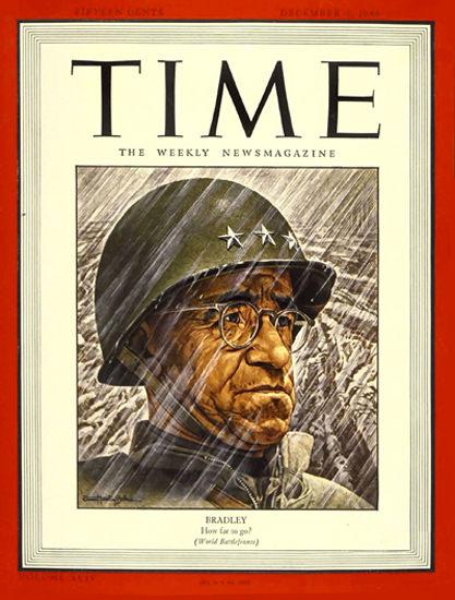 1944-12 Lt General Omar Bradley Copyright Time Magazine | Time Magazine Covers 1923-1970