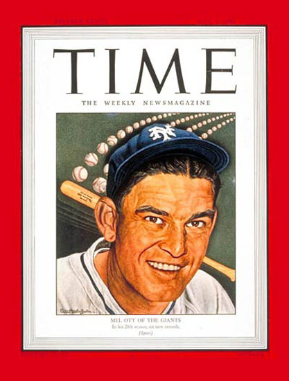 1945-07 Mel Ott Baseball Copyright Time Magazine | Time Magazine Covers 1923-1970