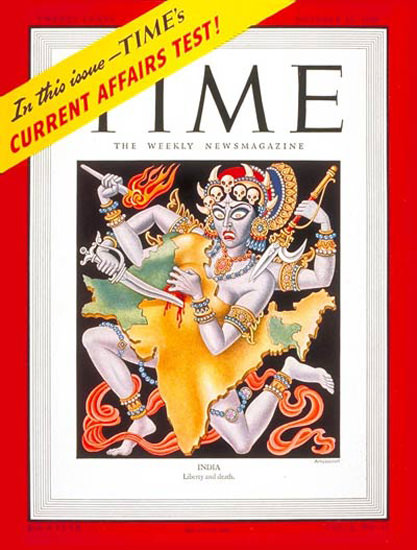 1947-10 India Copyright Time Magazine | Time Magazine Covers 1923-1970