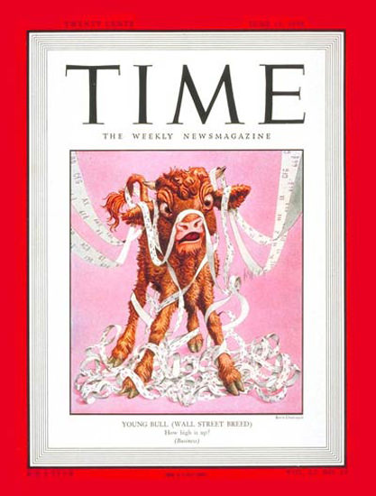 1948-06 Wall Street Bull Copyright Time Magazine | Time Magazine Covers 1923-1970