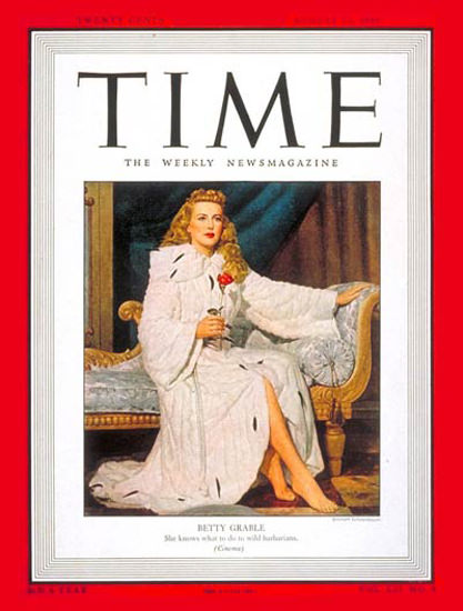 1948-08 Betty Grable Copyright Time Magazine | Time Magazine Covers 1923-1970