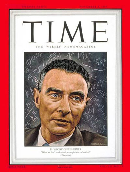 1948-11 Dr Robert Oppenheimer Copyright Time Magazine | Time Magazine Covers 1923-1970