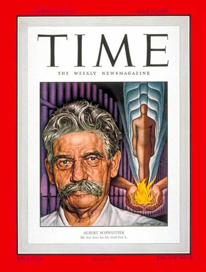 1949-07 Albert Schweitzer Copyright Time Magazine | Time Magazine Covers 1923-1970