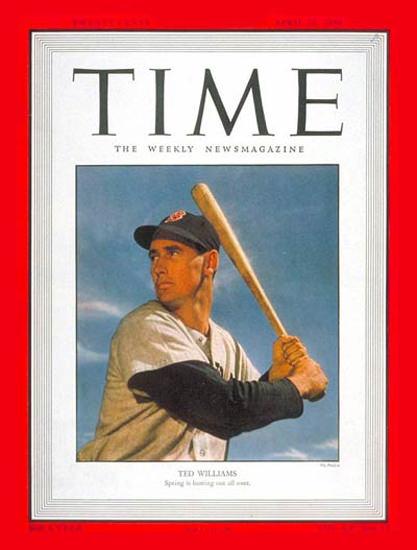 1950-04 Ted Williams Baseball Copyright Time Magazine | Time Magazine Covers 1923-1970